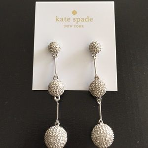 Kate Spade silver pave dash earrings. NWT